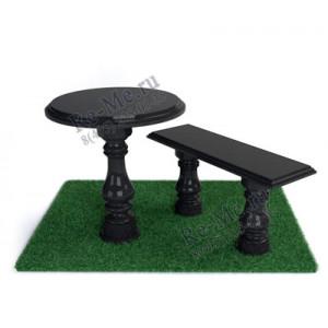 Гранитная лавка и стол с балясинами №4