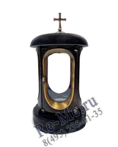 Лампадка из черного гранита Диабаз с золотом с крестом №30