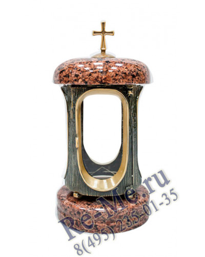 Лампадка из лезниковского гранита со стеклом  (золотая) №34
