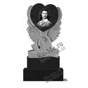 Гранитный памятник с сердцем и лебедем g1176