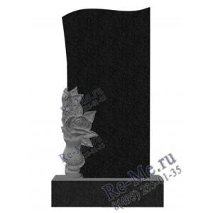 Памятник из гранита с розами в вазе ручная резка  g378