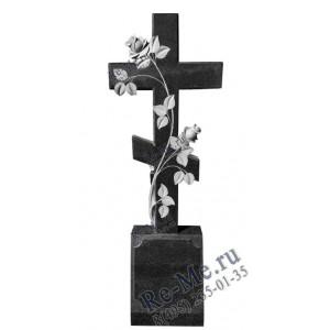 Памятник гранитный в виде креста с двумя розами g381