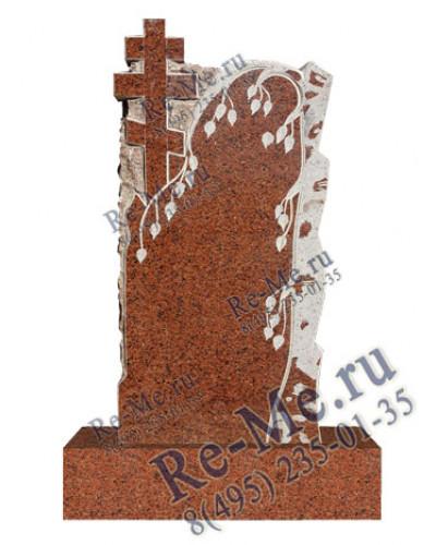 Памятник из красного гранита с березкой и крестом g400