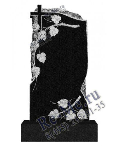 Памятник из гранита с листьями березы и крестом g411