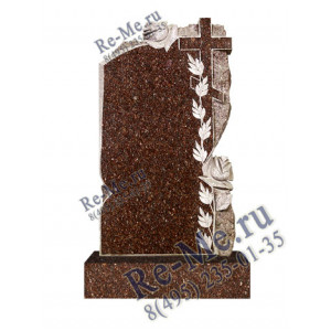 Памятник из гранита с колотым краем, розами и крестом g447