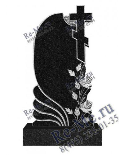 Резной гранитный памятник с розами и крестом g466
