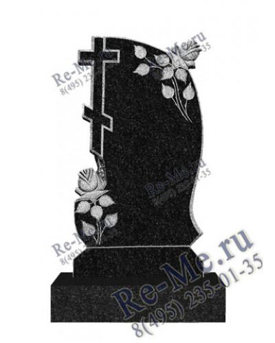 Памятник из гранита с православным крестом и розами g475