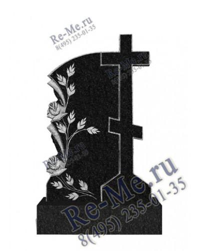 Памятник гранитный с высоким крестом и розами g510