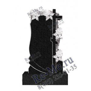 Памятник гранитный в обрамлении роз с высоким крестом g557