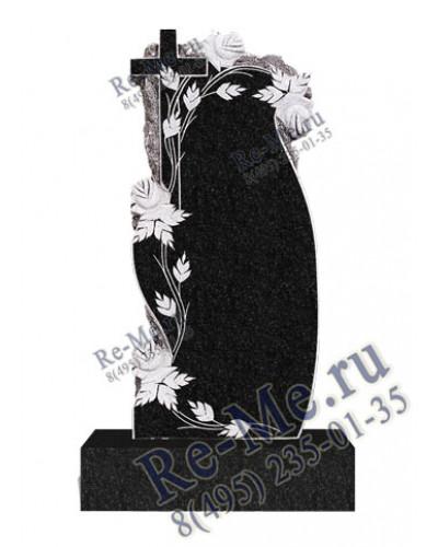 Прямой памятник из гранита с крестиком обрамлении роз g564