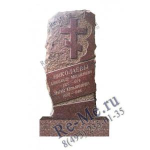 Памятник из красного гранита с крестом и кромкой g685