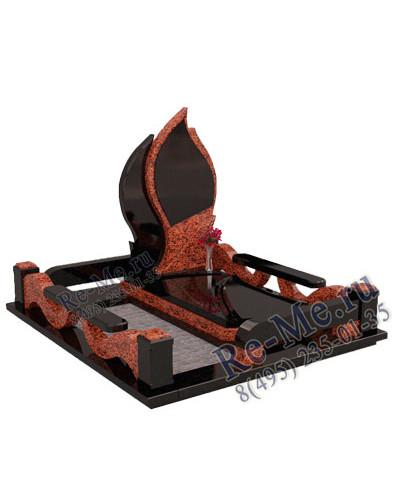 Комплекс памятников из красного и черного гранита в форме огня g780