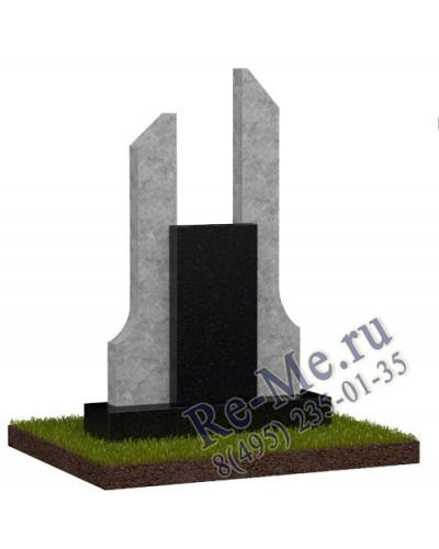 Памятник из черного и серого гранита g790