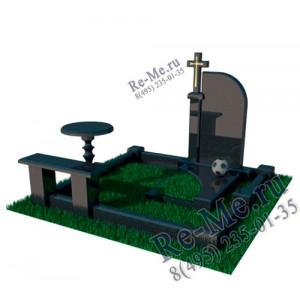 Комплекс из гранита с крестом, лавкой и столом g829