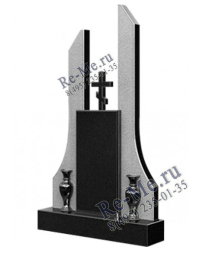 Памятник из черного и серого гранита с крестиком g840