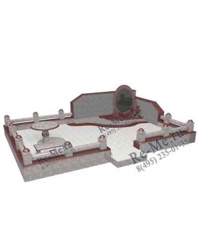 Комплекс из красного и белого гранита с памятником в форме зеркала g857