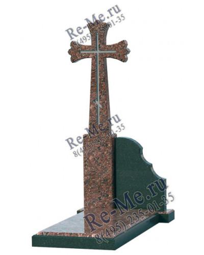 Минималистичный памятник из гранита с красным крестом g869
