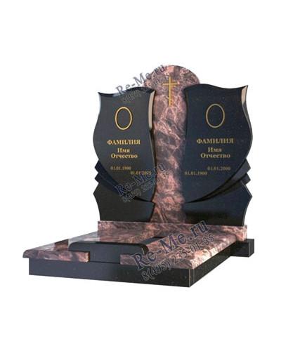 Комплекс из цветного и черного гранита с надгробной плитой g884