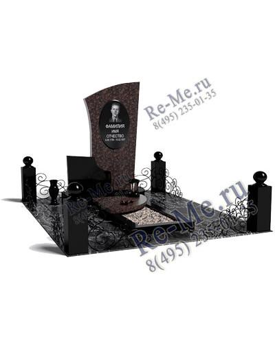 Комплекс из цветного и черного гранита с надгробной плитой и оградкой  g891