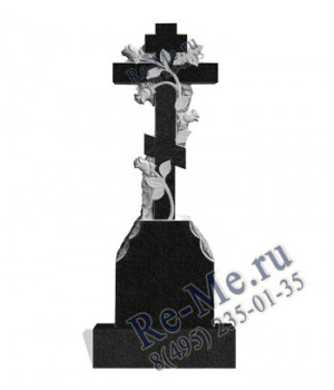 Крест с розами из гранита на могилу g113