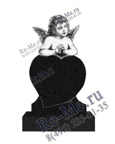 Памятник с ангелочком и сердцем из гранита g114