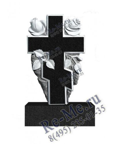 Гранитный памятник с крестом и розами g165