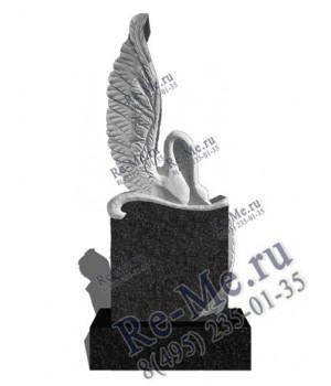 Гранитный памятник с высоким крылом птицы лебедя g182
