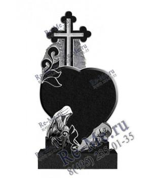 Памятника из гранита со скорбящей, розой, крестом и свечкой g194