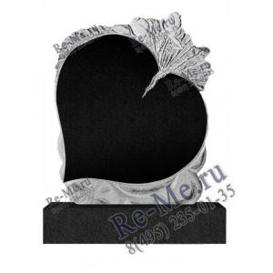 Памятник из черного гранита в виде сердца g202