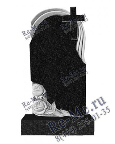 Памятник гранитный с розами и крестом g271