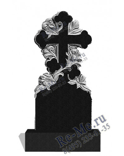 Надгробие на могилу с цветами и крестом g317