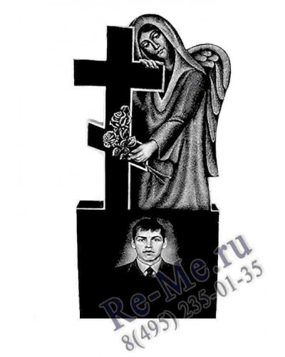 Гранитный ангел с крестом в руках на могилу g80