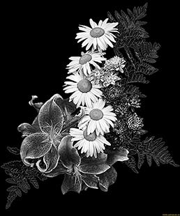 Изображение цветов для нанесения гравировки